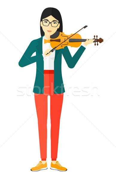 Nő játszik hegedű ázsiai vektor terv Stock fotó © RAStudio