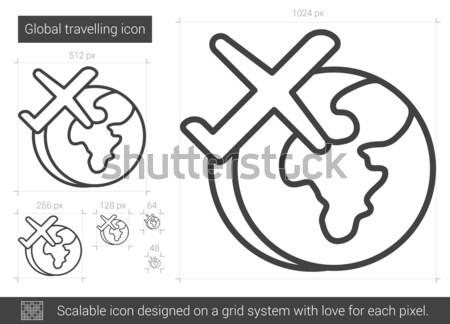 Airplane flying around the world line icon. Stock photo © RAStudio