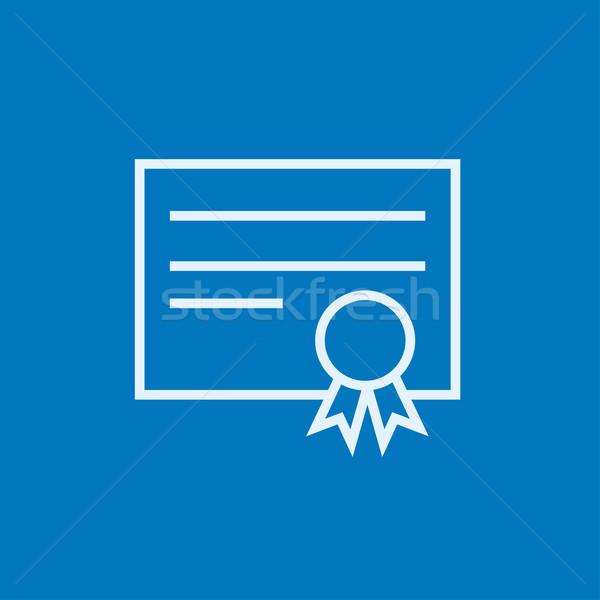 Bizonyítvány vonal ikon sarkok háló mobil Stock fotó © RAStudio