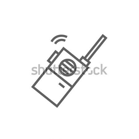 Hordozható rádió szett vonal ikon sarkok Stock fotó © RAStudio