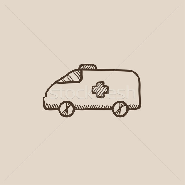 Ambulance voiture croquis icône web mobiles Photo stock © RAStudio