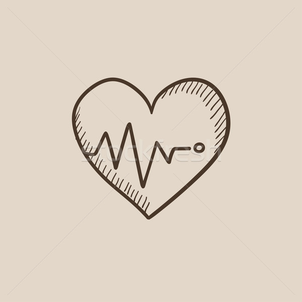 Stockfoto: Hart · kardiogram · schets · icon · symbool · web