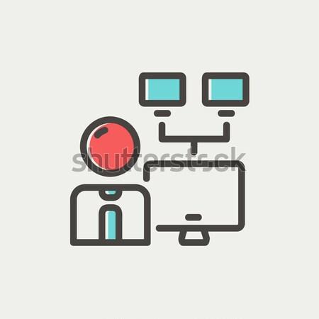 Netwerk beheerder lijn icon man hoeken Stockfoto © RAStudio