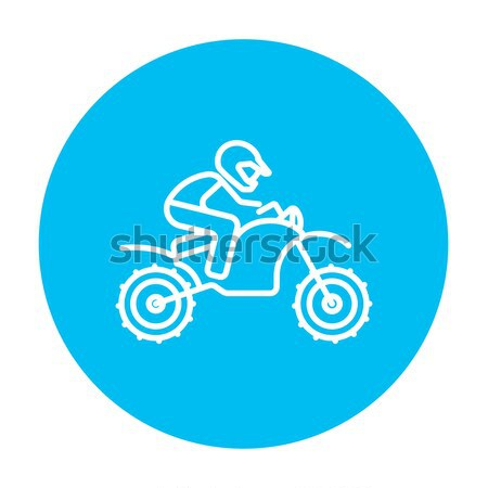 Man riding motocross bike line icon. Stock photo © RAStudio