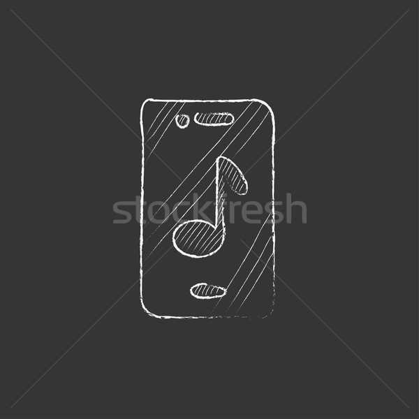 Phone with musical note. Drawn in chalk icon. Stock photo © RAStudio