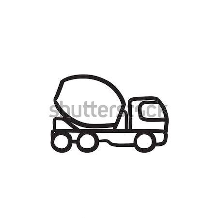 Concretas mezclador camión línea icono esquinas Foto stock © RAStudio