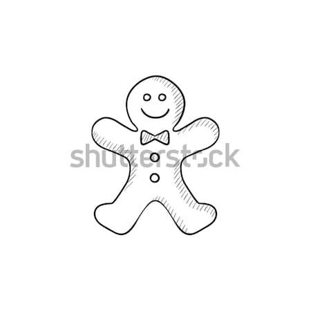 Колобок эскиз икона вектора изолированный рисованной Сток-фото © RAStudio