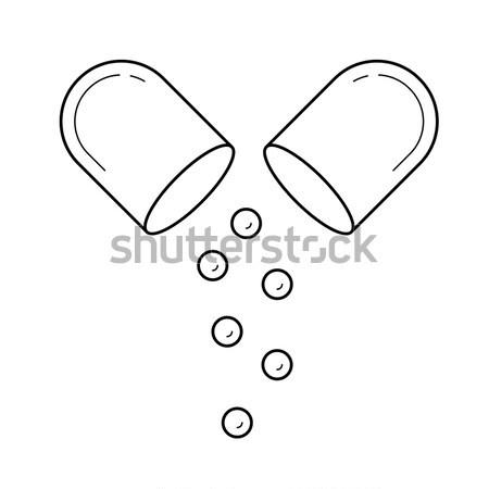 капсула таблетки эскиз икона вектора изолированный Сток-фото © RAStudio