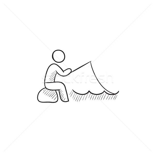 рыбак сидят стержень эскиз икона вектора Сток-фото © RAStudio