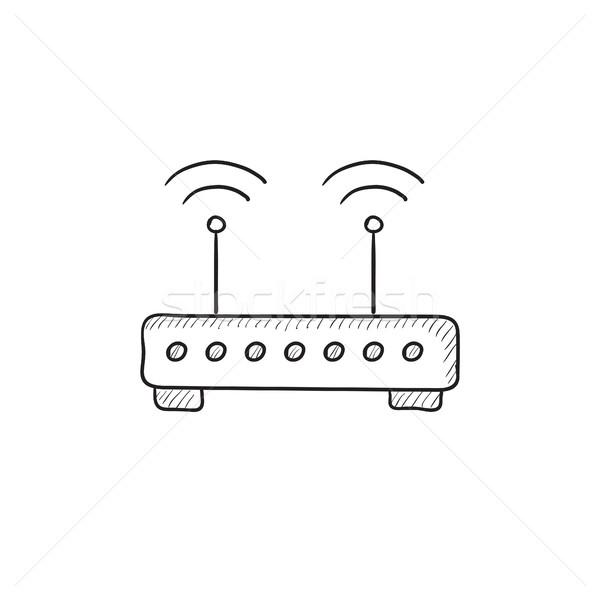 Sans fil routeur croquis icône vecteur isolé Photo stock © RAStudio