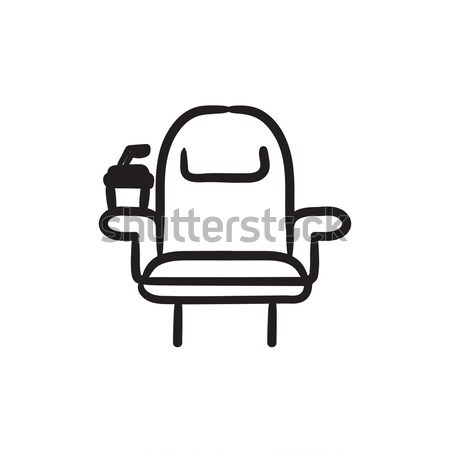 Cinema chair with disposable cup sketch icon. Stock photo © RAStudio