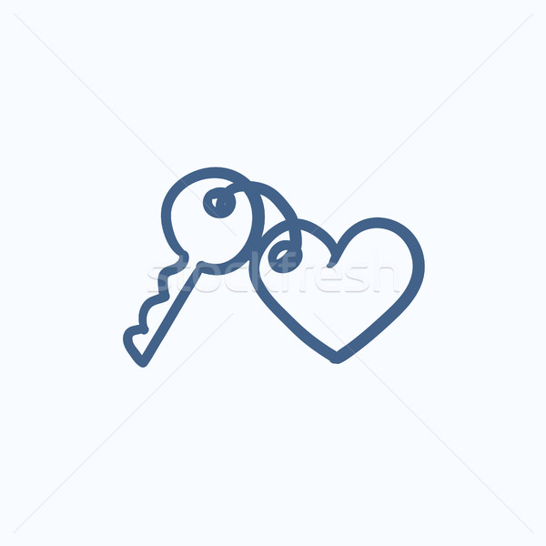 Gingillo tasti cuore sketch icona vettore Foto d'archivio © RAStudio
