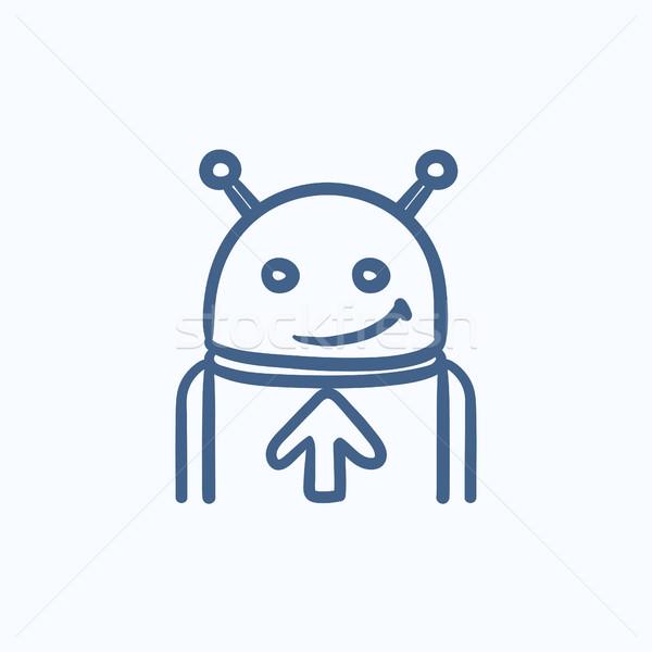 Stock fotó: Robot · nyíl · felfelé · rajz · ikon · vektor