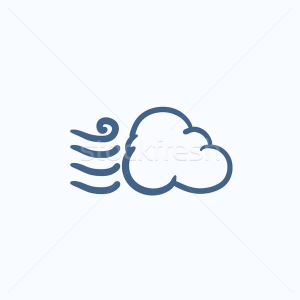 Ventoso nuvem esboço ícone vetor isolado Foto stock © RAStudio