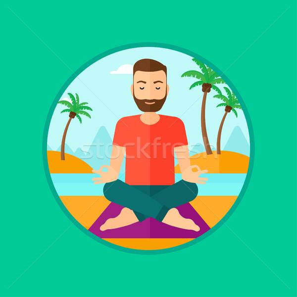 Stockfoto: Man · mediteren · lotus · pose · baard