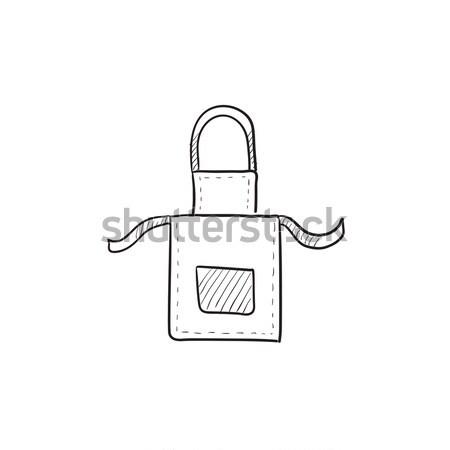 Keuken schort schets icon vector geïsoleerd Stockfoto © RAStudio