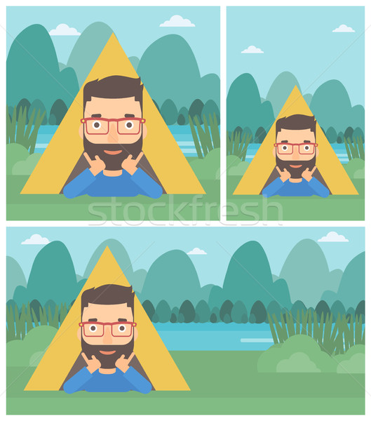 Man lying in camping tent vector illustration. Stock photo © RAStudio
