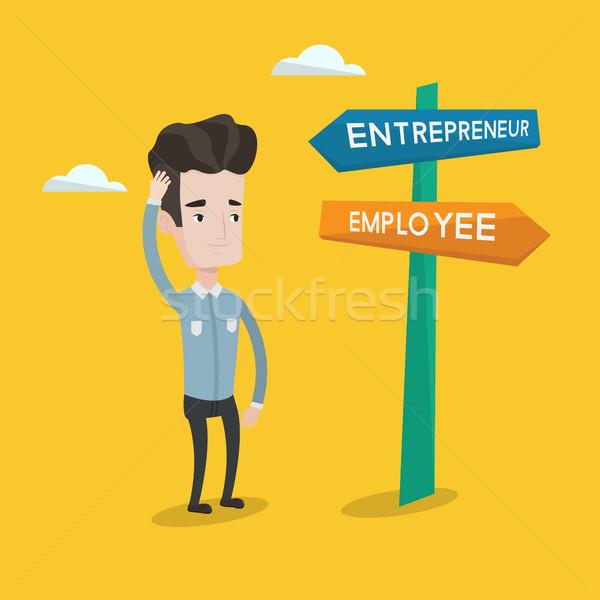 Confused man choosing career pathway. Stock photo © RAStudio