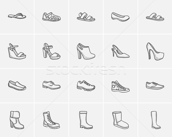 Shoes sketch icon set. Stock photo © RAStudio