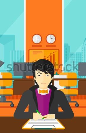 Agente immobiliare firma contratto asian femminile seduta Foto d'archivio © RAStudio
