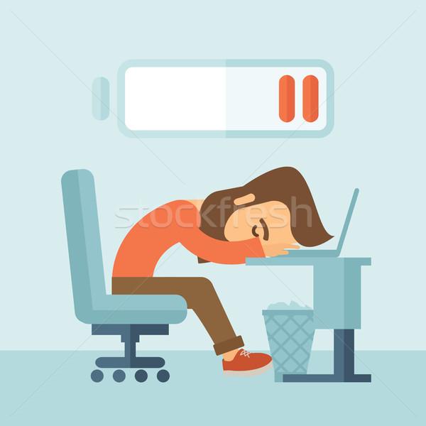 устал сотрудник молодые сидят таблице низкий Сток-фото © RAStudio