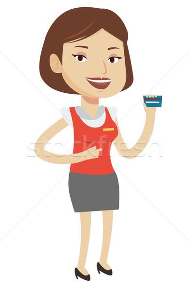 Kasiyer kredi kartı kafkas kadın Stok fotoğraf © RAStudio