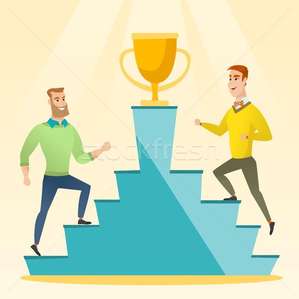 Két férfi versenyző üzlet díj kettő kaukázusi Stock fotó © RAStudio