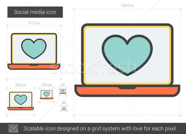 Social media lijn icon vector geïsoleerd witte Stockfoto © RAStudio