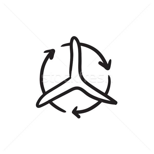 Windmill with arrows sketch icon. Stock photo © RAStudio