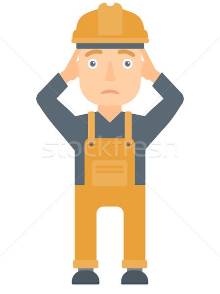 Builder grabs his head vector illustration. Stock photo © RAStudio