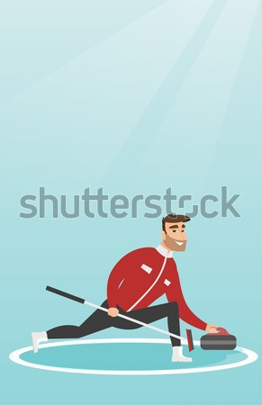 Stock photo: Curling player playing on rink.