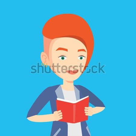 Diák olvas könyv boldog vizsga tart Stock fotó © RAStudio