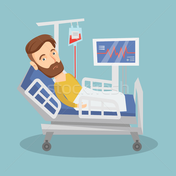 Férfi kórházi ágy hipszter kaukázusi ágy kórház Stock fotó © RAStudio