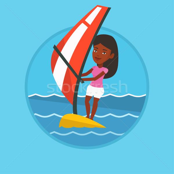 Fiatal nő windszörf tenger nő áll tábla Stock fotó © RAStudio