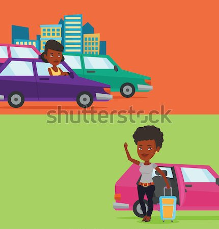 Stock photo: Angry african man in car stuck in traffic jam.