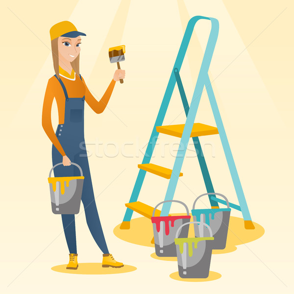 Painter with paint brush vector illustration. Stock photo © RAStudio
