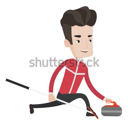 Curling player playing curling on curling rink. Stock photo © RAStudio