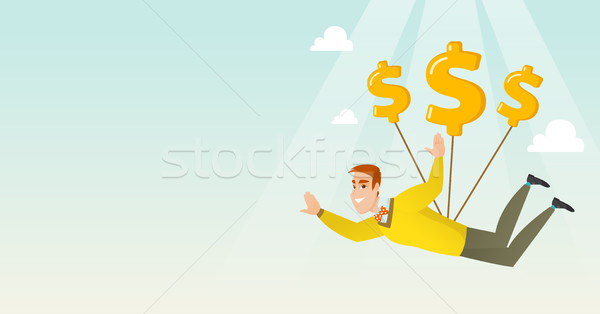 Business man flying with dollar signs. Stock photo © RAStudio