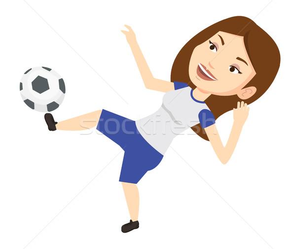 Futbolista pelota jóvenes caucásico juego Foto stock © RAStudio