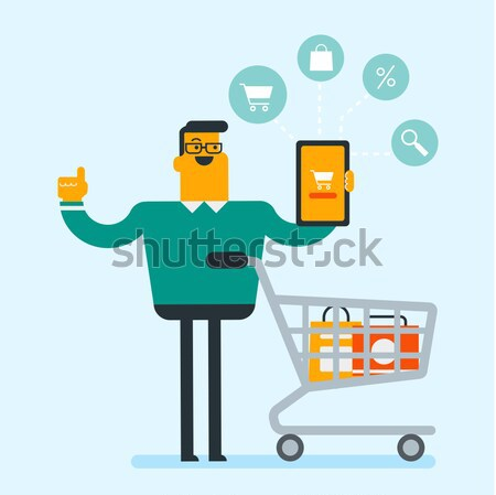 Hombre ejecutando prisa tienda venta Foto stock © RAStudio