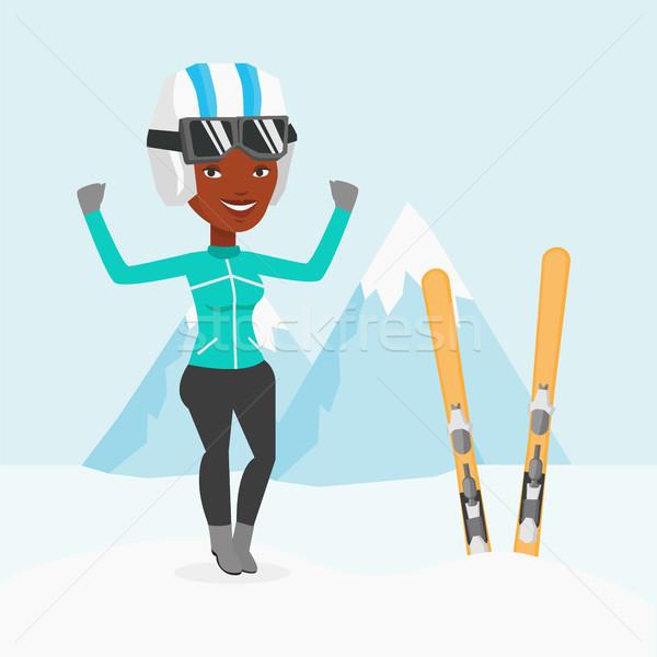 Kayakçı ayakta kaldırdı ellerini dağlar genç Stok fotoğraf © RAStudio