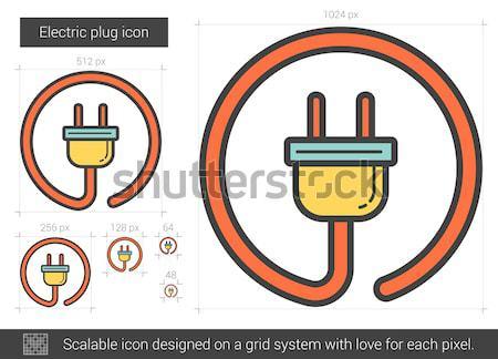 Elétrico plugue linha ícone vetor isolado Foto stock © RAStudio