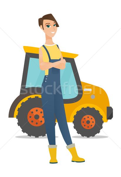 農家 立って トラクター 白人 小さな 笑みを浮かべて ストックフォト © RAStudio