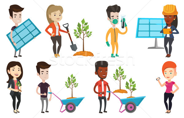 Vector set of characters on ecology issues. Stock photo © RAStudio
