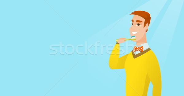 Man brushing her teeth vector illustration. Stock photo © RAStudio