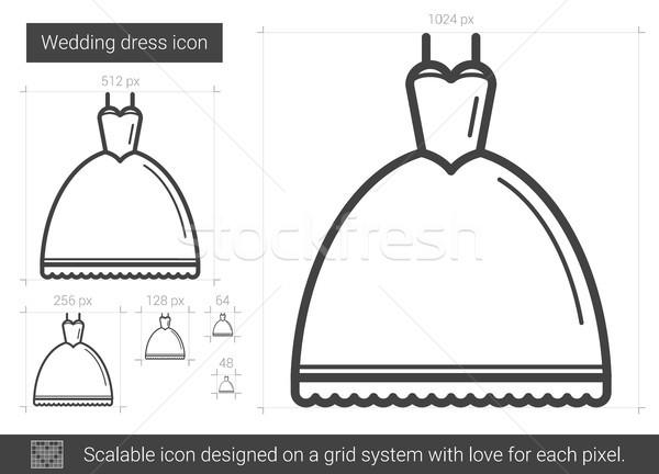 подвенечное платье линия икона вектора изолированный белый Сток-фото © RAStudio