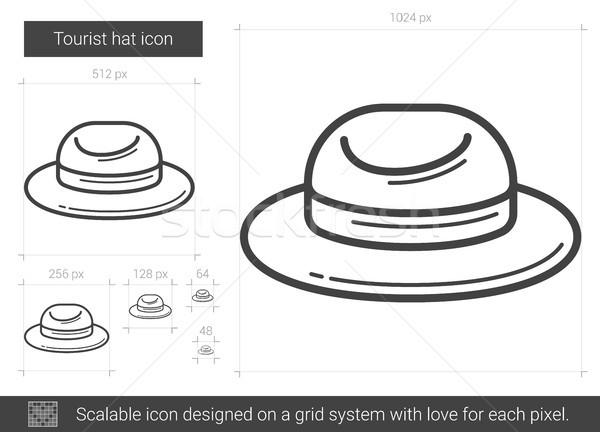 Tourist hat line icon. Stock photo © RAStudio