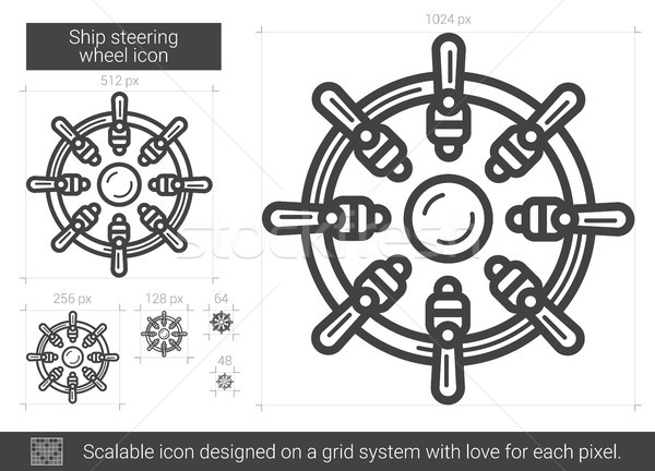Ship steering wheel line icon. Stock photo © RAStudio