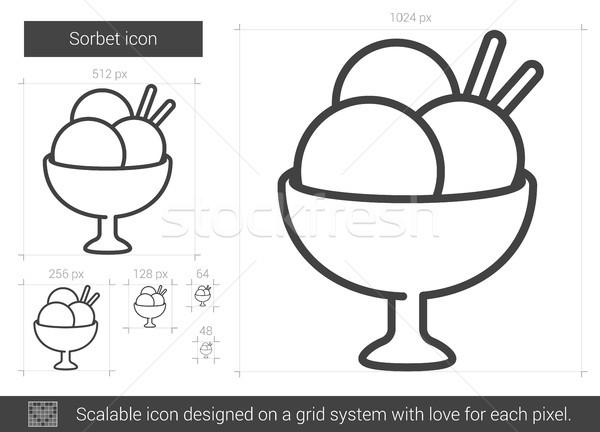 Sorbet lijn icon vector geïsoleerd witte Stockfoto © RAStudio