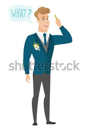 Asian groom calling for help. Stock photo © RAStudio